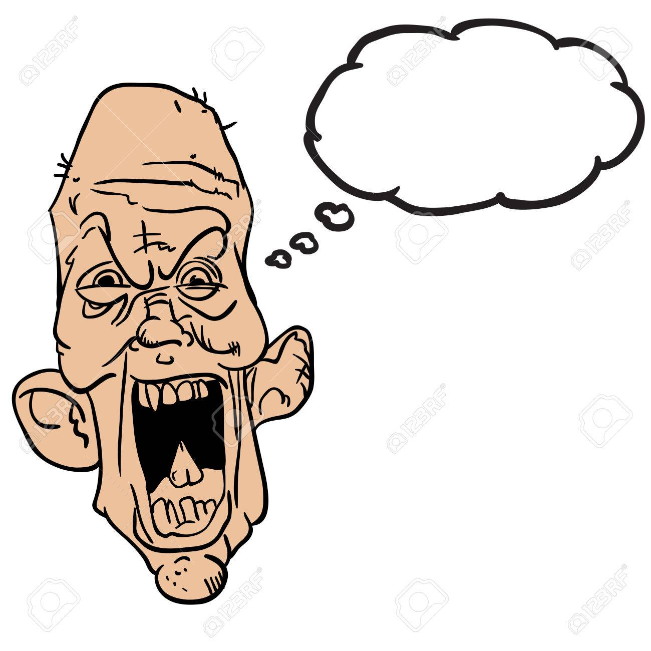 screaming old man with thought bubble