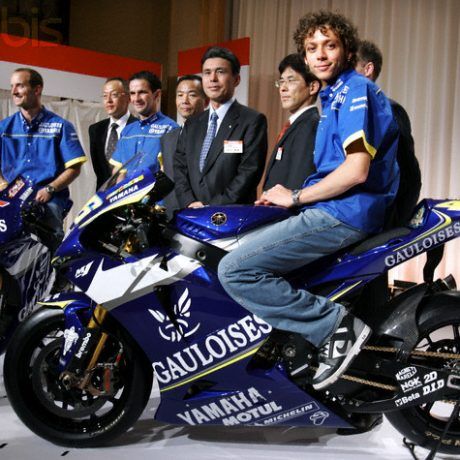 MotoGP world champion Rossi of Italy and team mate Edwards of US pose in Tokyo